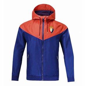 Osasuna Windbreaker zipper jaqueta com capuz futebol Windbreaker futebol jaqueta Sportswear completo casaco com zíper jaquetas masculinas