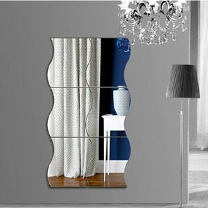 6pcs Wave Shape Mirror Wall Stickers Creative Removable DIY 3D Art Mural Decor mirror bedroom Bath Room Home Decoration