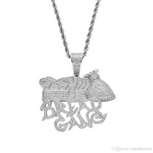 Brot Gang Geldsack Crown Halskette Herren Voll Lab-Diamant-Gold Halskette Hip Hop Kupfer Jewelly