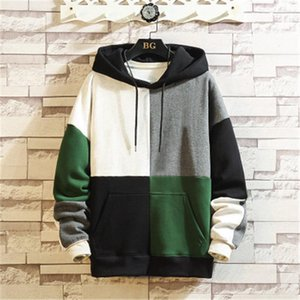 Man Patchwork Loose Casual Hoodies Fashion Trend Four-color Patchwork Hooded Pullover Sweatshirt Designer Male Long Sleeve Pocket Clothing