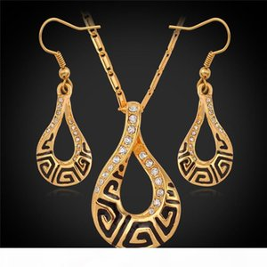 Crystal jewelry Luxury G vintage Necklace Pendant Earrings Real 18K Gold Plated Fashion Jewelry Set Austria Crystal Jewellery YS692