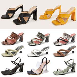 Hotsale Womens Stiletto Colorido Flip-Floop Sandalias Hebilla Toe Blackjack Tacones altos Tallas Cross Straps Open Toe Claro Zapatos de fondo
