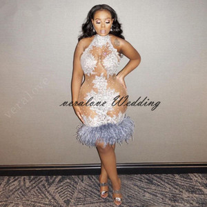 Plus Size Short Prom Dress Mermaid High Neck Appliques Lace Feather Knee Length African Evening Party Gown Cocktail Dress