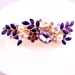 Crystal Hair Jewelry Women Hairclip Floral Leaf Hair Barrette Rhinestone Pearl Girls Clips