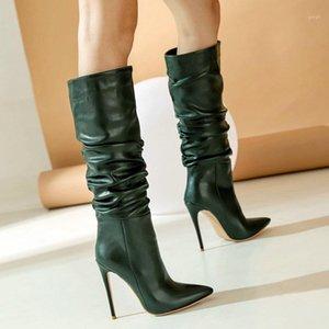 New Women Winter Boots Sexy Folds Super High Heel Rodilla High Boots Cómodo Tacón de aguja puntiagudo Autumn Heel Boot1