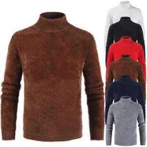 Mens-Herbst-Winter weicher Pelz Rollkragen Pullover New Male Langarm Solid Color Slim Fit Warm gestrickten Pullover Tops