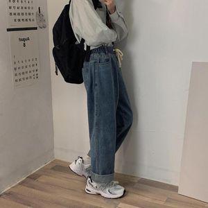 Herbst Mens Kordelzug Jeanshosen Männer elastische Taillen-beiläufige gerade lose Jeans-Hosen Männlich Fashion Street Jeans Schwarz Blau