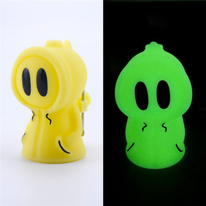 Resplandor en el bong de silicona oscura Fácil de transportar bongs de fumar Perrito encantador Mini Dab Rig con 2 colores Bongs de agua de vidrio