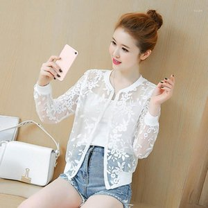 2018 Summer Organza Thin Short Jacket Women Embroidery Lace Women Basic Coats Black White Cardigan Bomber Jacket Chaquetas C44871