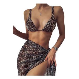 Paghi uno prendi due! Womens Split Swimsuit Snake Triangle Cup Sexy Leopard Stampa Bikini Diamond Swimwear Swimwear Three-Piece Set