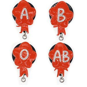 Free Shipping Cute Red Enamel Blood Type Rhinestone Retractable ID Badge Holder for nurse name accessories badge reel with alligator clip