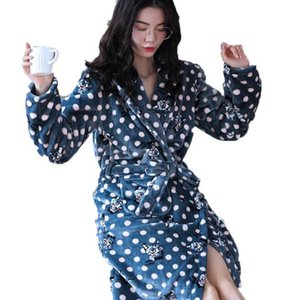 Winter Warm Coral Fleece Bathrobe Women Cute Cartoon Polka Dot Flannel Kimono Bath Robe Bridesmaid Wedding Dressing Gown Nightie