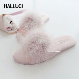 Japanische Peep-Toe Sexy Pelz Hausschuhe Schuhe für Frauen Klassische Süße Hausschuhe Damen Schlafzimmer Rutschfeste Holz Boden Slides Schuhe Mujer1