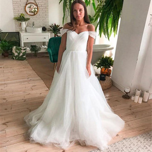Off Shoulder Long Wedding Dresses with Long Tulle Sweep Train Bridal Gowns robe de Ruffle Plus Size Robe De Marriage Gowns 2021