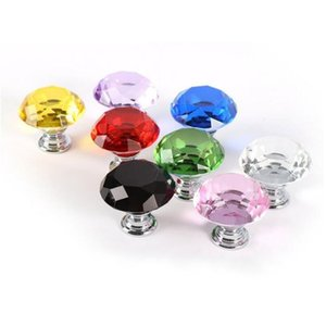 30mm Diamond Shape Crystal Glass Alloy Door Drawer Cabinet Wardrobe Pull Handle Knobs Drop Worldwide Store Lx4913
