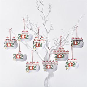 2020 mots décoration de Noël Bénédiction Pendentif en bois masque bonhomme de neige Xmas Tree Pendant Pendant Noël T9I00646