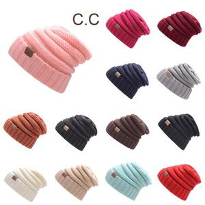 Winter Brand Female Ball Cap With Tag Hat For unisex Girls Hat Knitted Beanies Cap Hat Thick WomenS Skullies Beanies with logo DHE2189