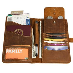 Men'S Wallet Genuine Leather Coin Purse Male Long Style Multifunctional Clutch Card Holder Slim Wallet Money Bag Passcard Pocket