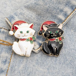 Christmas Hat Cute Cat Brooches Animal Enamel Gold Plated Brooches for Women Cartoon Jewelry Gift Black White Cat Cute Badges Xmas Lapel