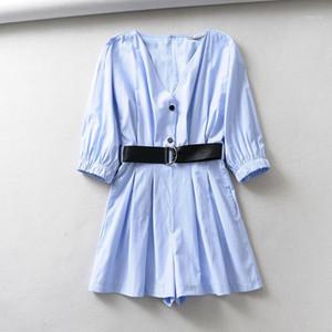 BBWM Mulher Elegante Mulheres Azul Poplin Playsuits com cinto 2020 Sexy Senhoras V-Pescoço Jumpsuits Casual Feminino Streetwear1