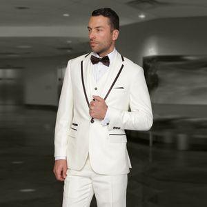 Men's Suits & Blazers Ivory Men Wedding Groom Tuxedos 3Piece Coat Pants Vest Costume Homme Slim Fit Terno Masculino Peaked Lapel