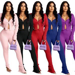 women designers tracksuits two piece outfits crop top+leggings plain sweatsuit Jogger suit sportswear loungewear button opening 2XL 3993