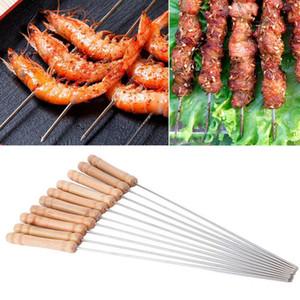 12PCS / SET Kabob Spieße Holzgriff Edelstahl-Grillspiess Barbecue Grill Zubehör Kabobs Sticks Set wiederverwendbare BBQ Sticks