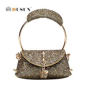 Metal Ring Tote Handle Female Mini Tote Bag Shoulder Women Leather Women's Handbag Chain Purse Designer Messenger Crossbody Bag