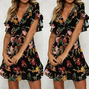 Summer Dress Women Sexy Deep V neck Black Flower Print Dresses Hem Folds Bohemian Style Belt Mini Ruffle Beach Dress