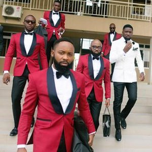 Red Suit Men Mens Suits for Wedding Slim Fit Mens Tuxedo Jacket+Pants 2 pieces Man Suit Costume Homme Terno Masculino
