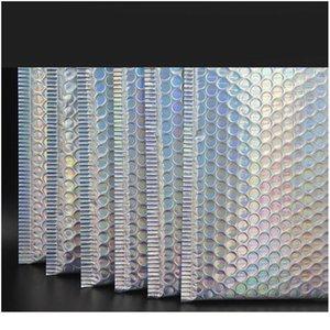 10 adet Lazer Gökkuşağı Postacılar Posta Zarf Torbaları Su Geçirmez Kurye Kabarcık Mailers Lazer Gümüş Yastıklı Zarf Bbyjoz