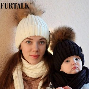 FURTALK Winter Women Knitted Beanie Real Raccoon Fur Pompom for Female Kids Warm Chunky Thick Stretchy Hat 201012