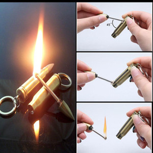 Oil Lighter Cotton Million Matches Car Key Chain Portable Metal Lighters for Men Survival Camping