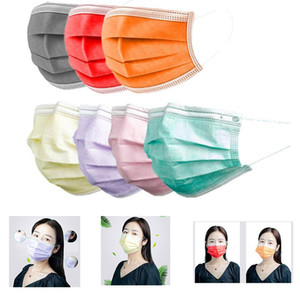 2020 3-Ply Masks Face Adult Colorful Green Disposable Mask Layer Balck Gray Pink Masks Cover Mouth Masks 3 Non-woven Protective Face 20 Bdpc