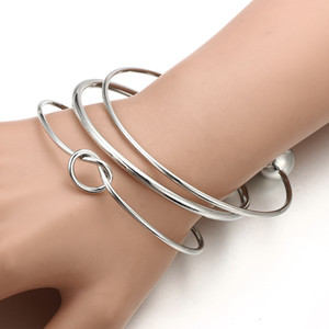 2021 New 3pc set Fashion Exaggerated Silver Women Bangle Dating Clothing Accessories Bracelets Jewelry For Girlfriend