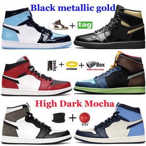 New Black Metallic Gold 1 1S Mens Basquetebol Tênis Alto Escuro Mocha Twist Twist Obsidian UNC Patente Chicago Royal Toe Light Fumaça Cinza Sapatilhas