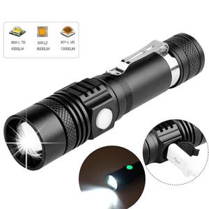 6200LM LED super brillante linterna USB llevó la antorcha de T6 / L2 / Consejos de potencia V6 de luz de bicicletas con zoom 18650