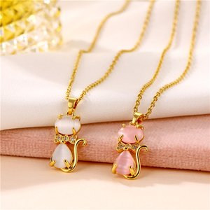 New Cat's Eye Necklace Lovely Cat Cat Titanium Steel Necklace Female Micro Zircon Cat Clavicle Chain Jewelry