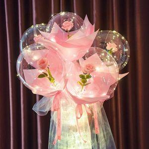 LED Balloon Luminous Balloon Rose Bouquet Transparent Bobo Ball Rose Birthday Valentines Day Gifts Party Wedding Decor Balloons