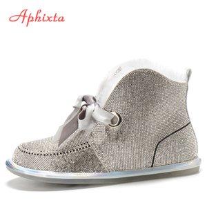Tacchi Aphixta Bling Winter Snow Boots donne per le donne piatte Strass Diamanti mucca Suede Shoes Warm peluche donna C1016