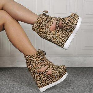 Verão Side Cut-out Heel Leopard Curto Botas Mulher Wedge Plataforma Lace Up Botas Gladiator High Top bottines