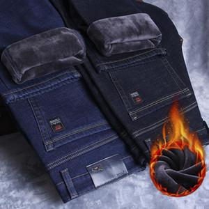 Shan BAO Erkekler Gömme Düz Kış Polar Kalın Rahat Sıcak Jeans Marka Giyim Klasik Rozet Moda Denim Jeans