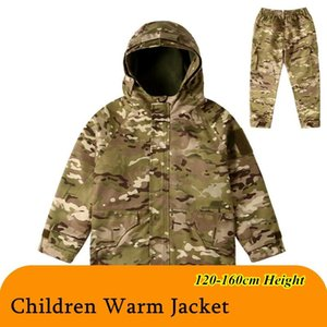 Winter Children Warm Fleece Jacket Pants Kid Outdoor Windproof Thermal Hooded Tactical Windbreaker Coat Camo Miliatry Clothes