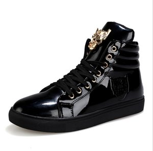 2020 Fashion Mens Boots Sneakers White Black Red PU Leather High Top Lace-up Casual Shoes Outdoor Male Zapatos Ankle Boots 39-44