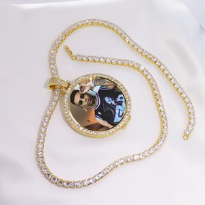 Round Photo Custom Made Photo Medallions Pendant Picture Necklace & Tennis Chain Gold Color Cubic Zircon Men's Hip Hop Jewelry LJ201007