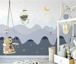 AINYOOUSEM Hand painted valley hot air balloon children's room back wallpaper papel de parede 3d wallpaper wallpapers stickers