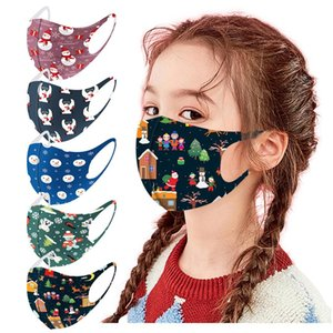 30 5pcs Children Face Mask Washable Fashion Christmas Print Face Mask Reusable Dustproof Windproof Christmas Party Masks yxlGnV sports2010