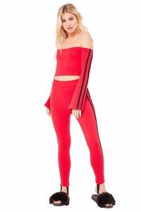 Yan Çizgili Tasarım Bayan eşofman Streetwear İnce kıyafetler Uzun Kollu Uzun Pants 2 adet W3CB # Tops Boyun Flare Kol Seksi Suits Slash