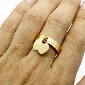 fashion jewelry 316L titanium gold-plated heart-shaped rings T letter leisure double heart ring female ring for woman