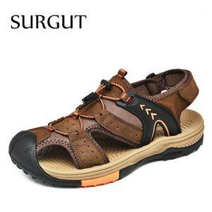 Surgut Classic Herren Sandalen Sommer Echtes Leder Sandalen Komfortable Sohle Männer Schuhe Große Größe Weiche Männer Casual Roman1